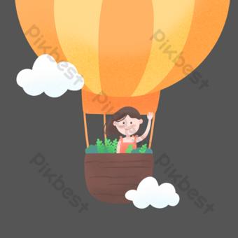 فتاة لطيفة تركب منطاد الهواء الساخن صور PNG قالب PSD