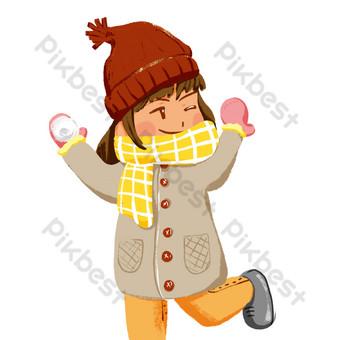 linda chica lanzando elementos de bola de nieve Elementos graficos Modelo PSD
