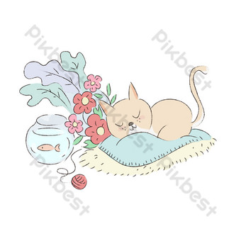 adegan tidur anak kucing yang digambar tangan yang lucu Elemen Grafis Templat PSD