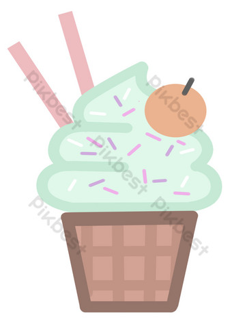 png makanan es krim musim panas yang digambar tangan lucu Elemen Grafis Templat PSD