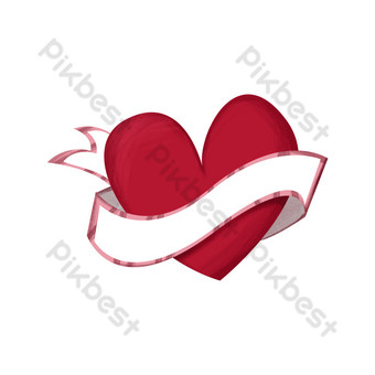 لطيف مرسومة باليد الحب الأحمر القلب الشريط الأبيض التسمية صور PNG قالب PSD
