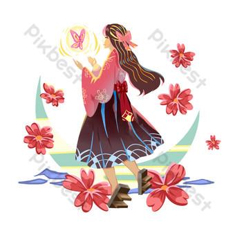 الفتاة اليابانية لطيف صور PNG قالب PSD