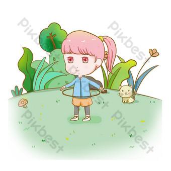 لطيف فتاة الوردي في الهواء الطلق حولا هوب فقدان الوزن صور PNG قالب PSD