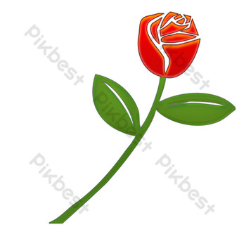 lindo vector realista flor rosa roja Elementos graficos Modelo PSD