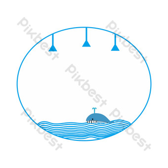 Cute sea blue dolphin border PNG Images Template PSD