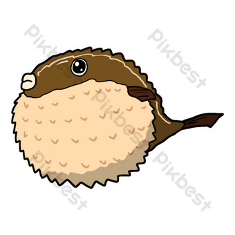 Cute sea fish hand drawn illustration PNG Images Template PSD