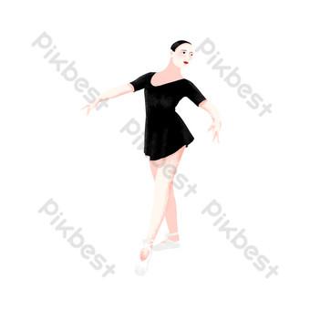 舞蹈課跳舞手繪卡通人物女孩少女扁平小清新文藝 元素 模板 PSD