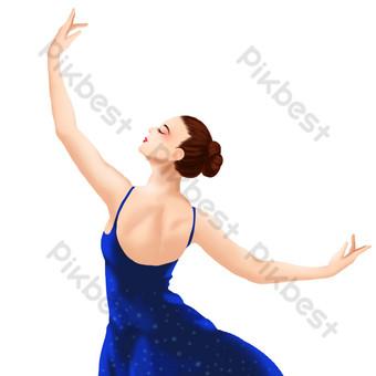 舞蹈表演女孩後視圖 元素 模板 PSD