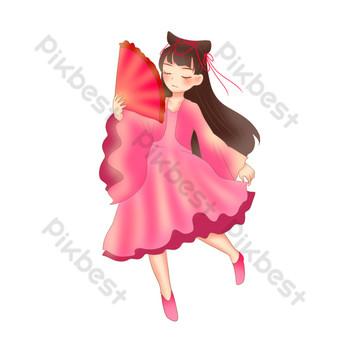 紅色的跳舞女人 元素 模板 PSD