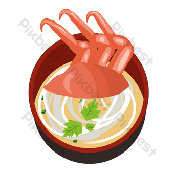 Delicious Japanese seafood noodles PNG Images Template PSD