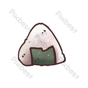 deliciosa ilustración de bola de arroz de algas Elementos graficos Modelo PSD
