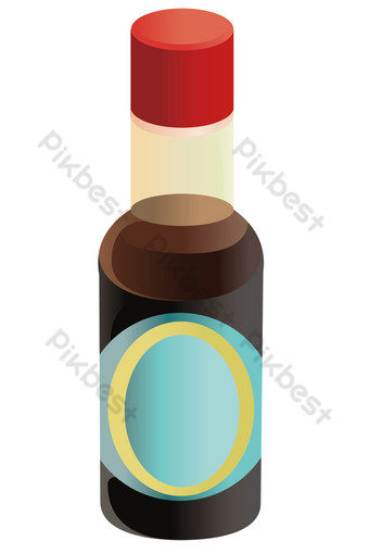 Delicious soy sauce seasoning PNG Images Template AI