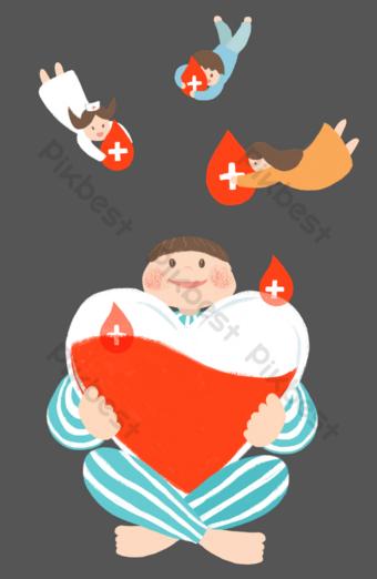 donar donación de sangre amor dibujado a mano dibujos animados Elementos graficos Modelo PSD