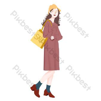 雙十一購物狂歡節卡通手繪時尚文藝範少女與購物袋 元素 模板 PSD
