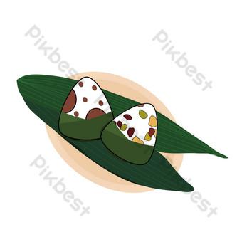 Pangsit nasi festival perahu naga diletakkan di atas sepiring siomay nasi dan siomay nasi manis Elemen Grafis Templat AI