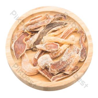 Batatas secas en placa de madera redonda Elementos graficos Modelo RAW