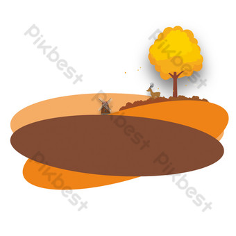 الطاحونة الهولندية الأيائل والشجرة الكبيرة في حقل مجردة صور PNG قالب PSD