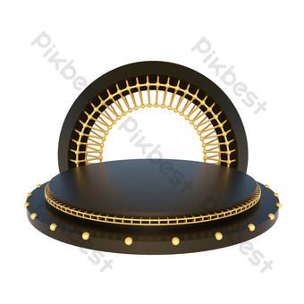 電子商務黑金舞台海報裝飾背景舞台 元素 模板 C4D