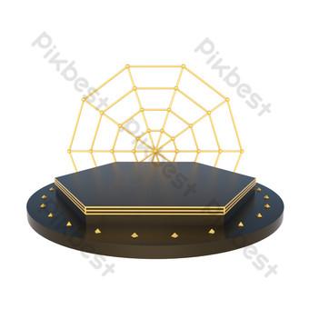 電子商務黑金舞台海報裝飾展位 元素 模板 C4D