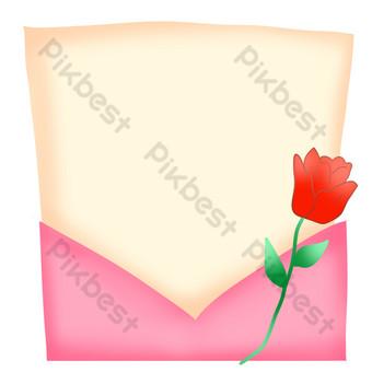 sobre rosa carta de amor borde Elementos graficos Modelo PSD