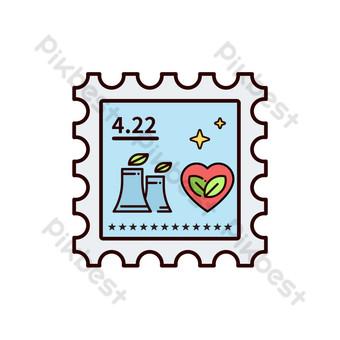 حماية البيئة نمط ختم أزرق قلب أحمر توفير الطاقة شعار جديد png شقة صور PNG قالب PSD