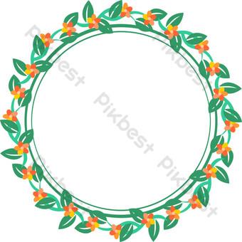 hoja verde europea pequeña flor roja guirnalda decoracion vector png transparente Elementos graficos Modelo AI