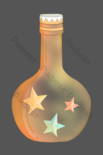 精美的粉紅色五星級漂流瓶 元素 模板 PSD