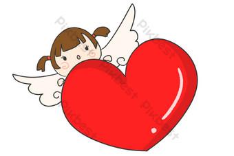exquisita ilustración de corazón de amor rojo Elementos graficos Modelo PSD