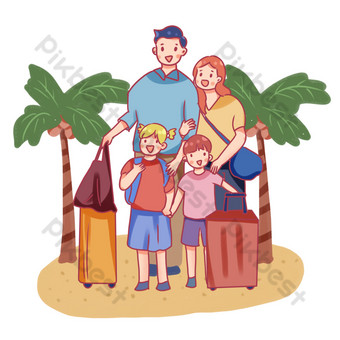 Family beach seaside trip PNG Images Template PSD
