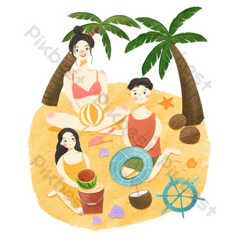 Family of three travel seaside sea ice beach vacation PNG Images Template PSD