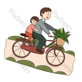 Father's day senior gray dad cycling with daughter PNG Images Template PSD
