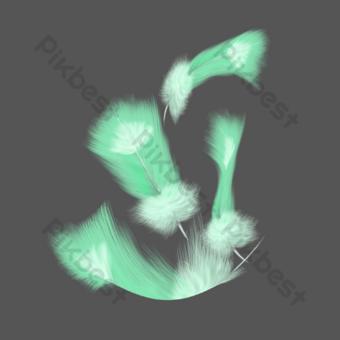 las plumas vuelan hacia abajo de color claro y ondeante verde realista sin hebilla Elementos graficos Modelo PSD
