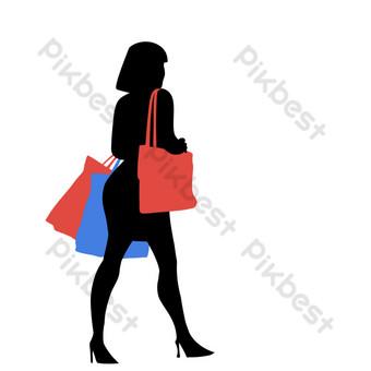 siluetas de personas de compras femeninas Elementos graficos Modelo PSD