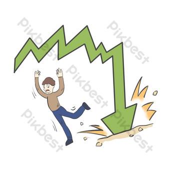 انخفض سوق الأوراق المالية المالية صور PNG قالب PSD