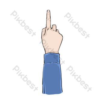 dedo apuntando a la flecha retro Elementos graficos Modelo PSD