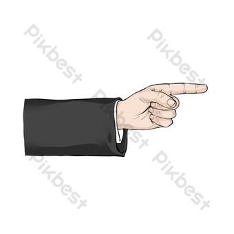 dedo retro flecha Elementos graficos Modelo PSD