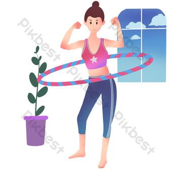 فتاة اللياقة البدنية مع طوق الهولا صور PNG قالب PSD