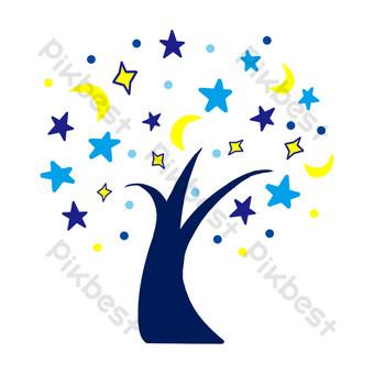 Illustration d'arbre de lune étoile à cinq branches Éléments graphiques Modèle PSD