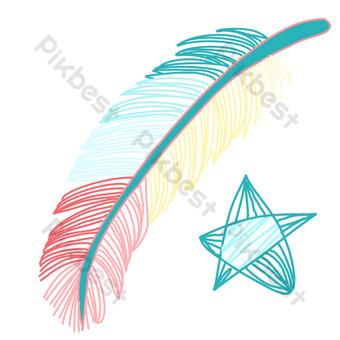 五角星羽毛卡通裝飾 元素 模板 PSD