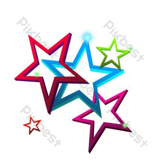 閃光三維裝飾五角星 元素 模板 PSD