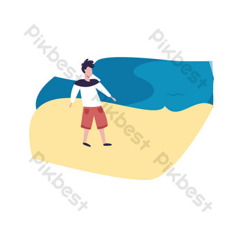 Flat wind characters walking on the beach PNG Images Template AI