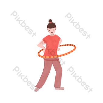 فتاة رياضية مسطحة تلعب مشهد هولا هوب مجانًا صور PNG قالب PSD