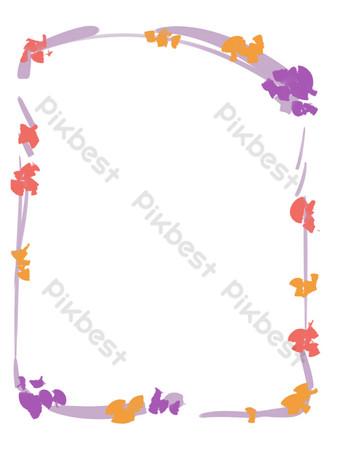borde de decoración de flores marco pequeño Elementos graficos Modelo PSD