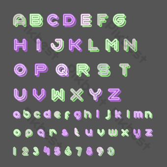 熒光數字英文字母矢量圖 元素 模板 AI