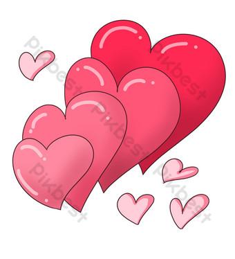 ilustración de corazón de amor rojo revoloteando Elementos graficos Modelo PSD