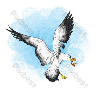 Flying ink seagull PNG Images Template PSD