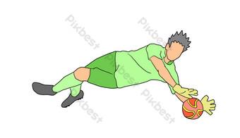 Illustration de dessin animé de gardien de but de football Éléments graphiques Modèle PSD