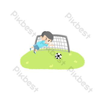 Caricature de gardien de but de football Éléments graphiques Modèle PSD
