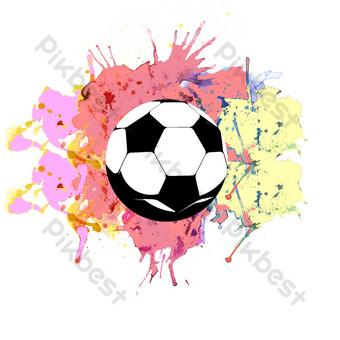 Carte gratuite du football coloré sur toile Éléments graphiques Modèle PSD