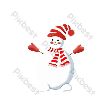 diseño de muñeco de nieve sonriente feliz fresco y hermoso Elementos graficos Modelo PSD